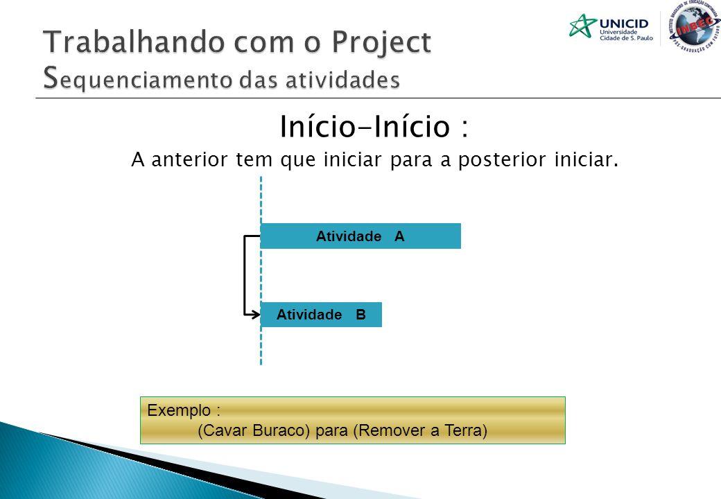 Início-Início : A anterior tem que iniciar para a posterior iniciar. Atividade A Atividade B Exemplo : (Cavar Buraco) para (Remover a Terra)