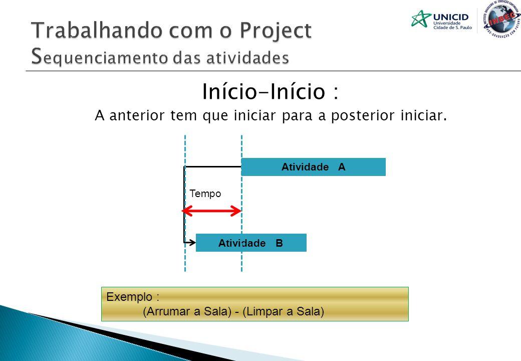 Início-Início : A anterior tem que iniciar para a posterior iniciar. Atividade A Atividade B Tempo Exemplo : (Arrumar a Sala) - (Limpar a Sala)