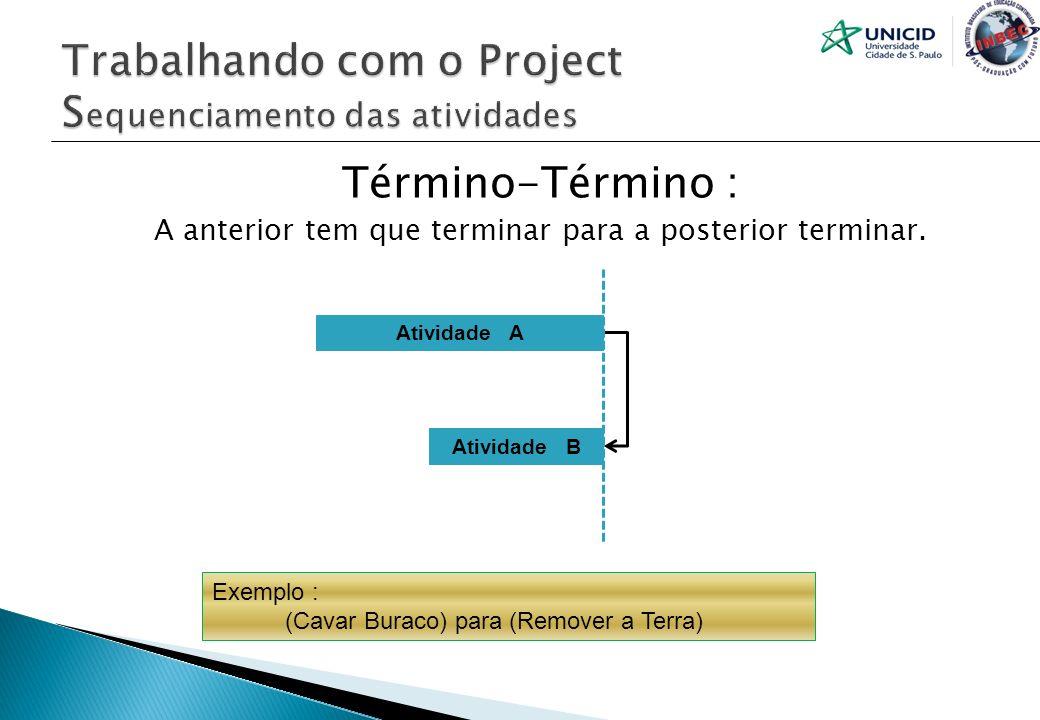 Término-Término : A anterior tem que terminar para a posterior terminar. Atividade A Atividade B Exemplo : (Cavar Buraco) para (Remover a Terra)