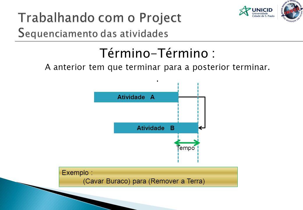Término-Término : A anterior tem que terminar para a posterior terminar.. Atividade A Atividade B Tempo Exemplo : (Cavar Buraco) para (Remover a Terra