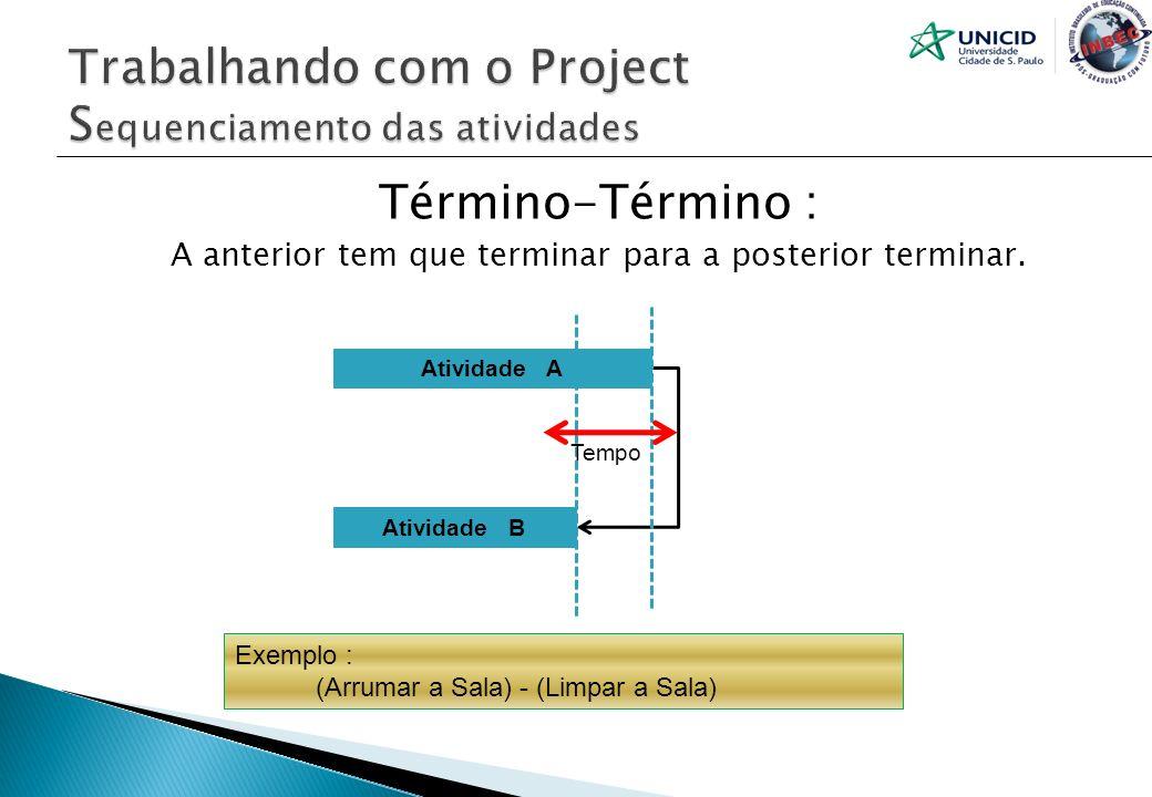 Término-Término : A anterior tem que terminar para a posterior terminar. Atividade A Atividade B Tempo Exemplo : (Arrumar a Sala) - (Limpar a Sala)