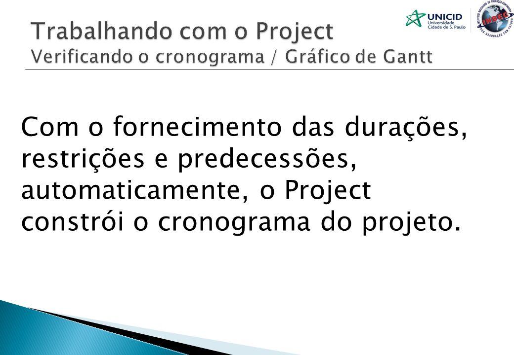 Com o fornecimento das durações, restrições e predecessões, automaticamente, o Project constrói o cronograma do projeto.