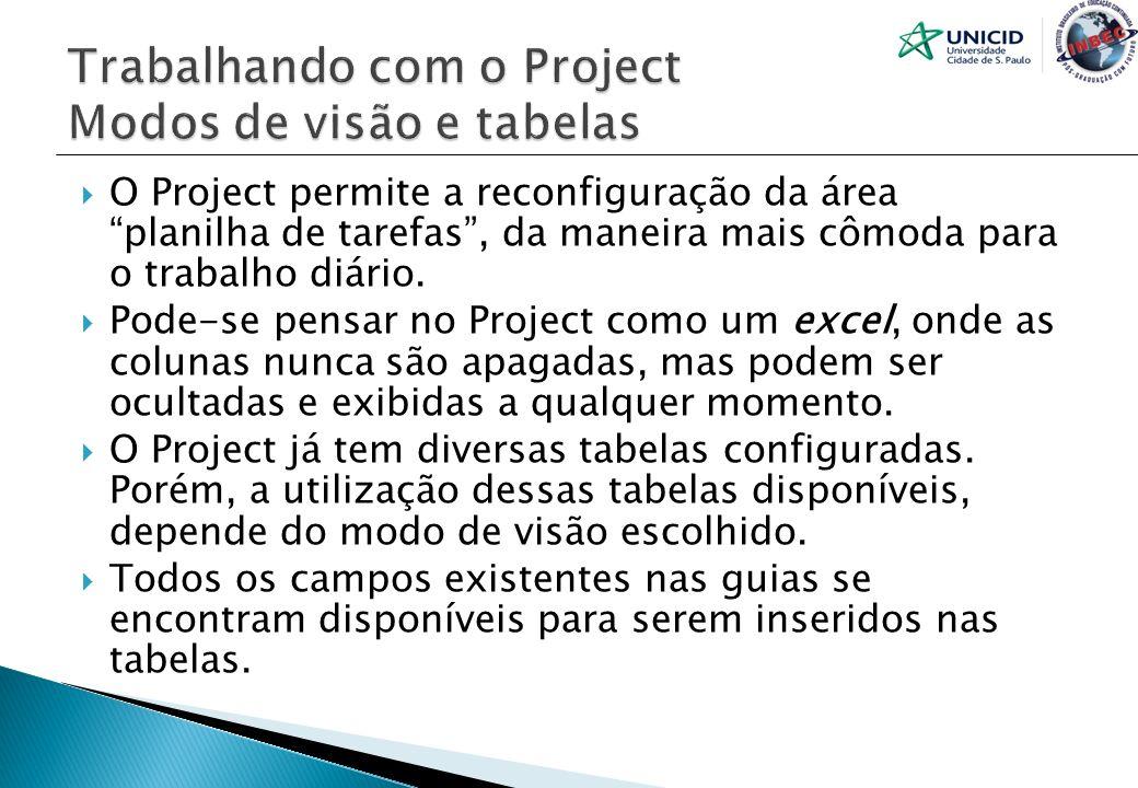 O Project permite a reconfiguração da área planilha de tarefas, da maneira mais cômoda para o trabalho diário. Pode-se pensar no Project como um excel