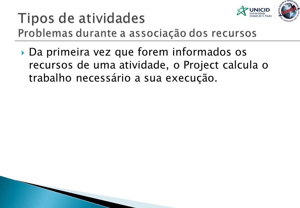 Da primeira vez que forem informados os recursos de uma atividade, o Project calcula o trabalho necessário a sua execução.