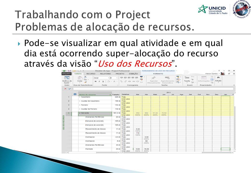 Pode-se visualizar em qual atividade e em qual dia está ocorrendo super-alocação do recurso através da visão Uso dos Recursos.