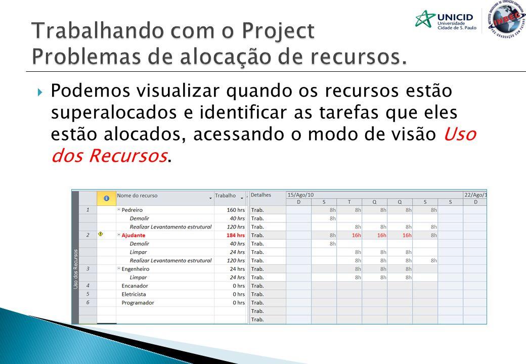 Podemos visualizar quando os recursos estão superalocados e identificar as tarefas que eles estão alocados, acessando o modo de visão Uso dos Recursos