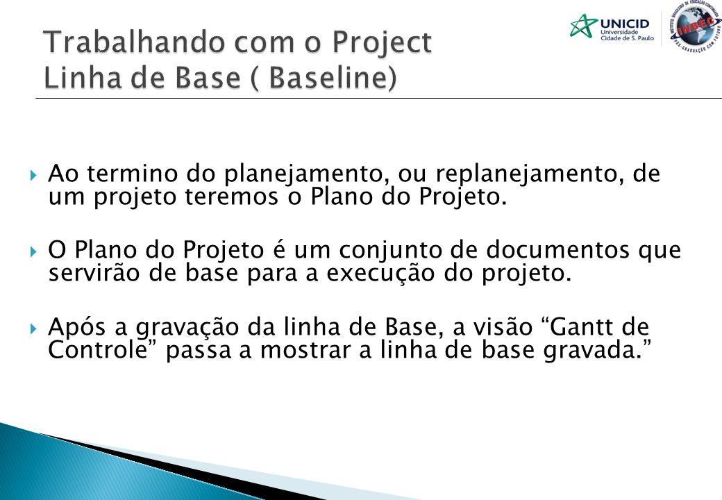 Ao termino do planejamento, ou replanejamento, de um projeto teremos o Plano do Projeto. O Plano do Projeto é um conjunto de documentos que servirão d