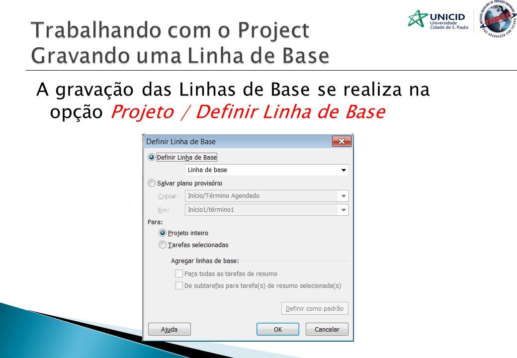 A gravação das Linhas de Base se realiza na opção Projeto / Definir Linha de Base