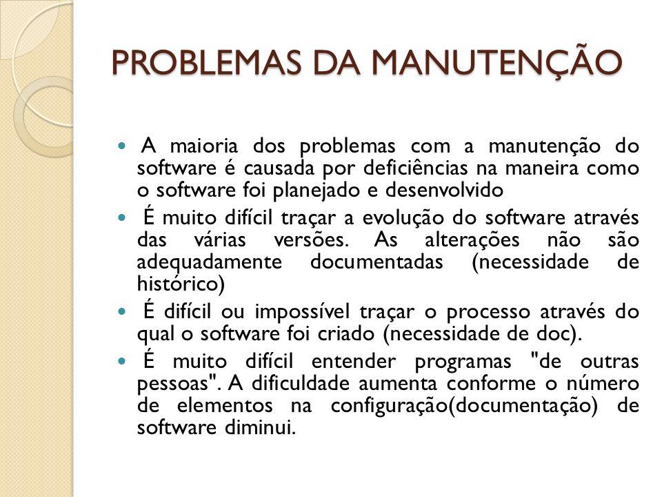 PROBLEMAS DA MANUTENÇÃO A maioria dos problemas com a manutenção do software é causada por deficiências na maneira como o software foi planejado e des