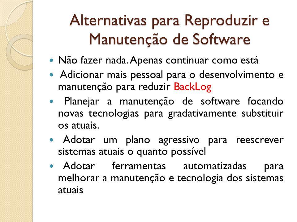 Alternativas para Reproduzir e Manutenção de Software Não fazer nada. Apenas continuar como está Adicionar mais pessoal para o desenvolvimento e manut