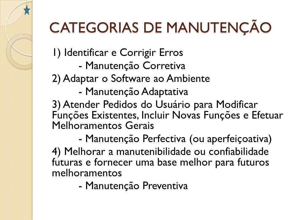 CATEGORIAS DE MANUTENÇÃO 1) Identificar e Corrigir Erros - Manutenção Corretiva 2) Adaptar o Software ao Ambiente - Manutenção Adaptativa 3) Atender P