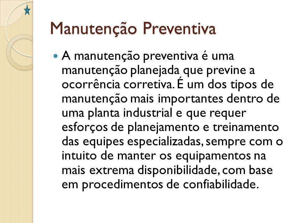 Manutenção Preventiva A manutenção preventiva é uma manutenção planejada que previne a ocorrência corretiva. É um dos tipos de manutenção mais importa