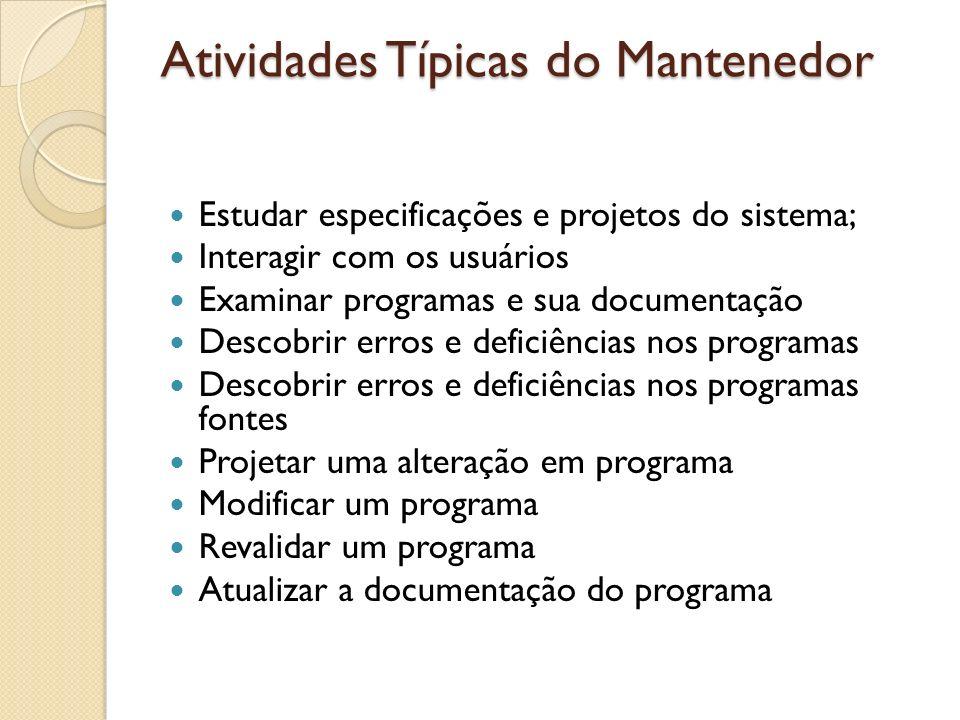 Atividades Típicas do Mantenedor Estudar especificações e projetos do sistema; Interagir com os usuários Examinar programas e sua documentação Descobr