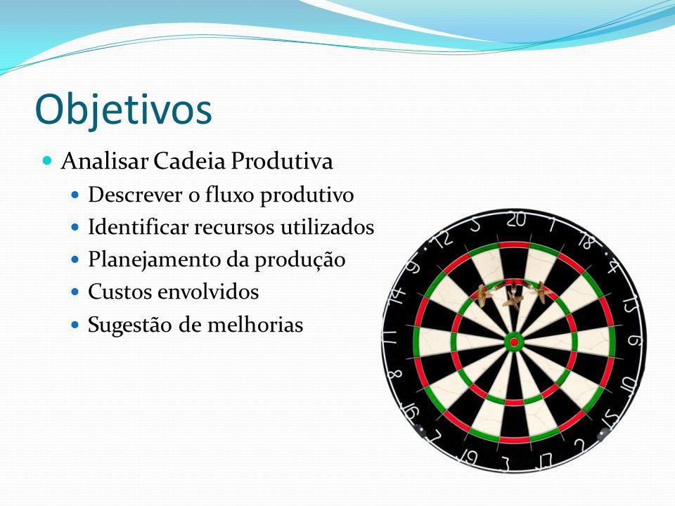 Objetivos Analisar Cadeia Produtiva Descrever o fluxo produtivo Identificar recursos utilizados Planejamento da produção Custos envolvidos Sugestão de melhorias