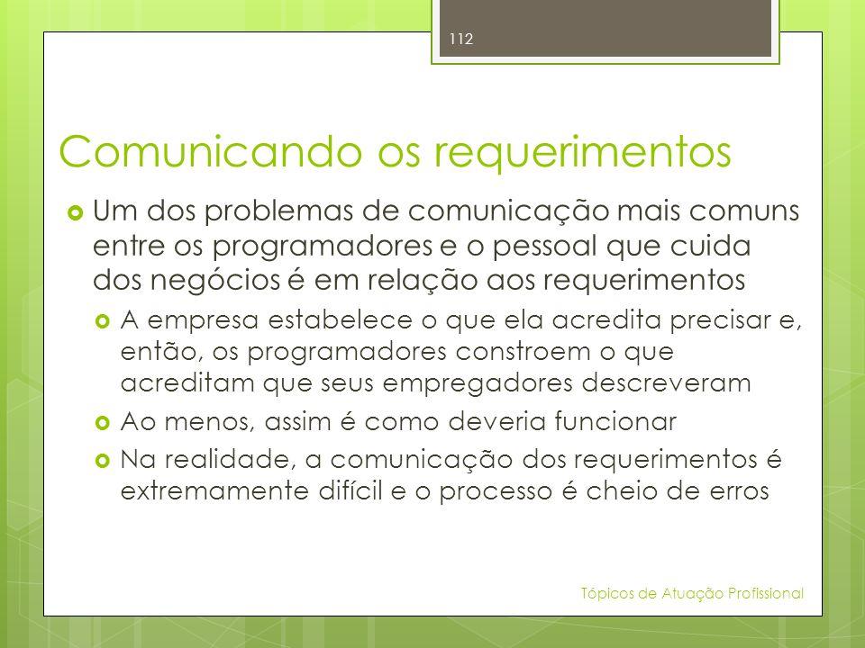 Comunicando os requerimentos Um dos problemas de comunicação mais comuns entre os programadores e o pessoal que cuida dos negócios é em relação aos re