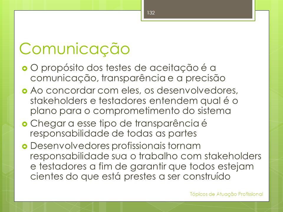 Comunicação O propósito dos testes de aceitação é a comunicação, transparência e a precisão Ao concordar com eles, os desenvolvedores, stakeholders e