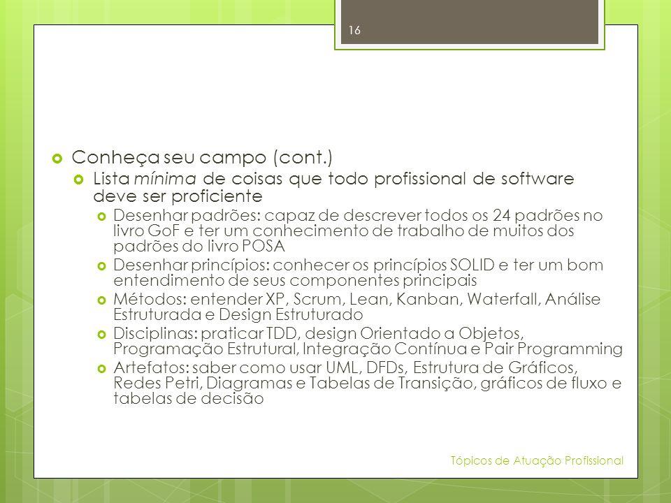 Conheça seu campo (cont.) Lista mínima de coisas que todo profissional de software deve ser proficiente Desenhar padrões: capaz de descrever todos os