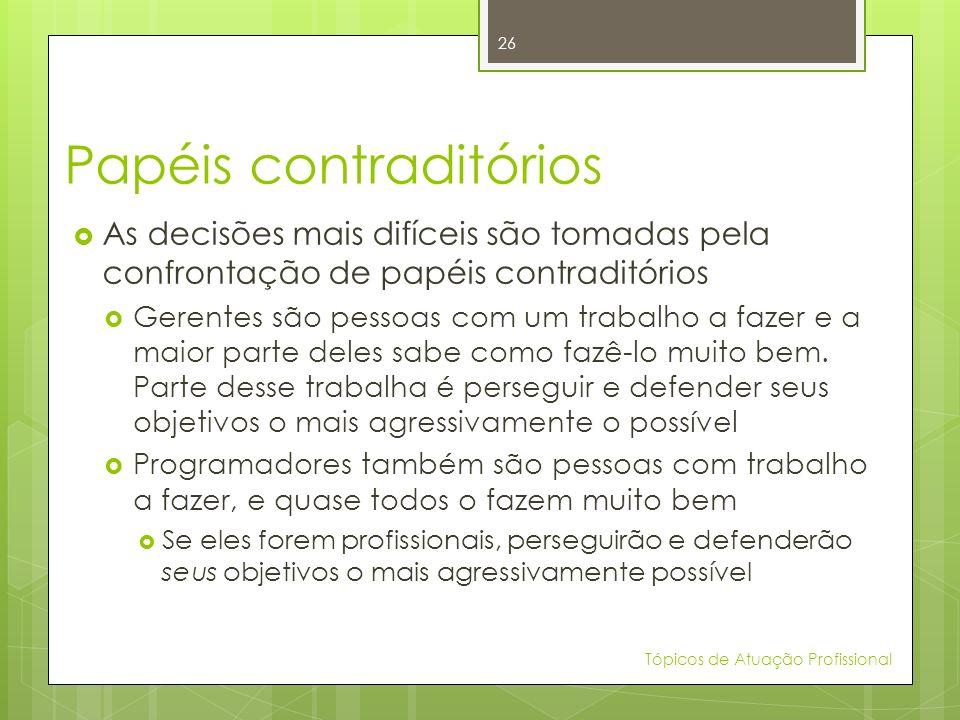 Papéis contraditórios As decisões mais difíceis são tomadas pela confrontação de papéis contraditórios Gerentes são pessoas com um trabalho a fazer e
