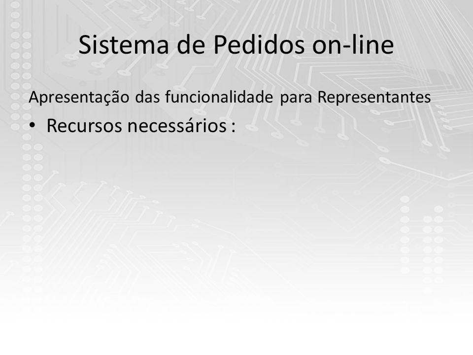 Sistema de Pedidos on-line Apresentação das funcionalidade para Representantes Recursos necessários :