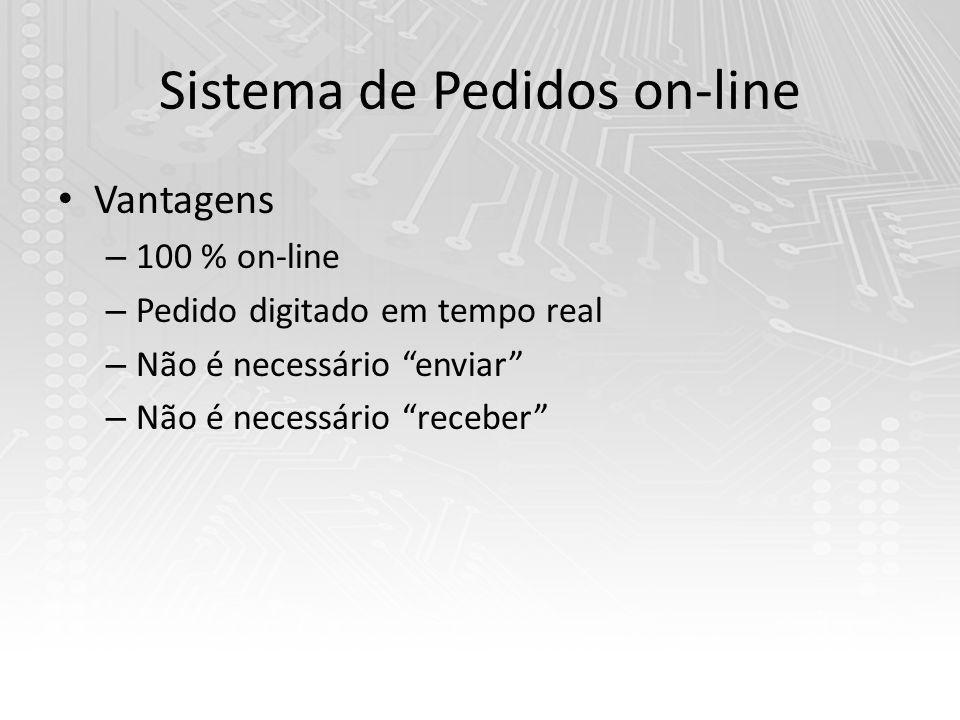 Sistema de Pedidos on-line Vantagens – 100 % on-line – Pedido digitado em tempo real – Não é necessário enviar – Não é necessário receber