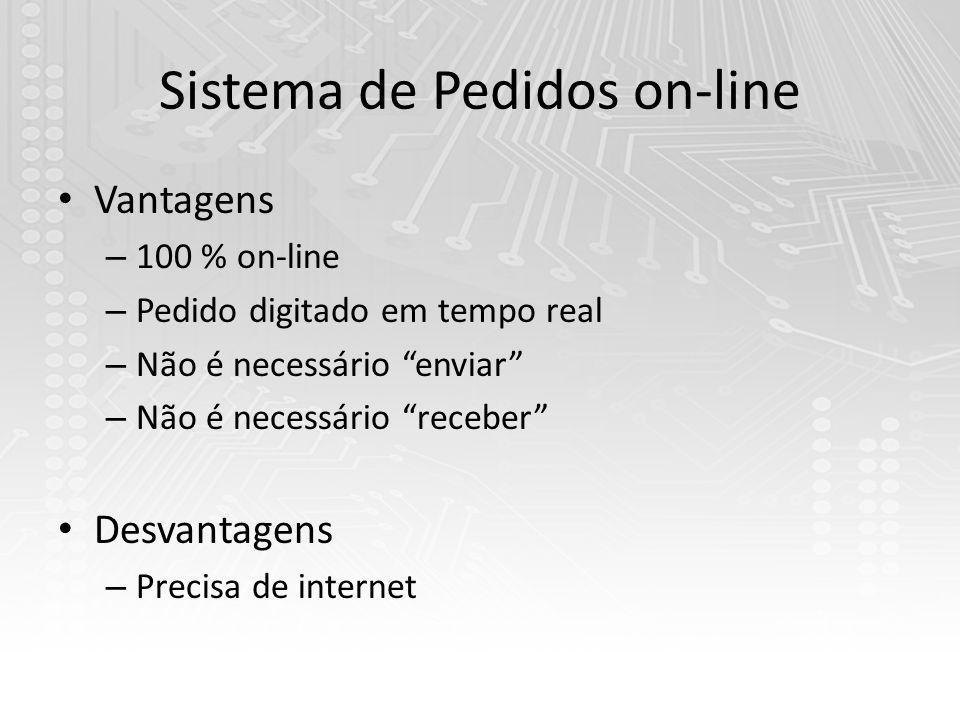 Sistema de Pedidos on-line Vantagens – 100 % on-line – Pedido digitado em tempo real – Não é necessário enviar – Não é necessário receber Desvantagens – Precisa de internet