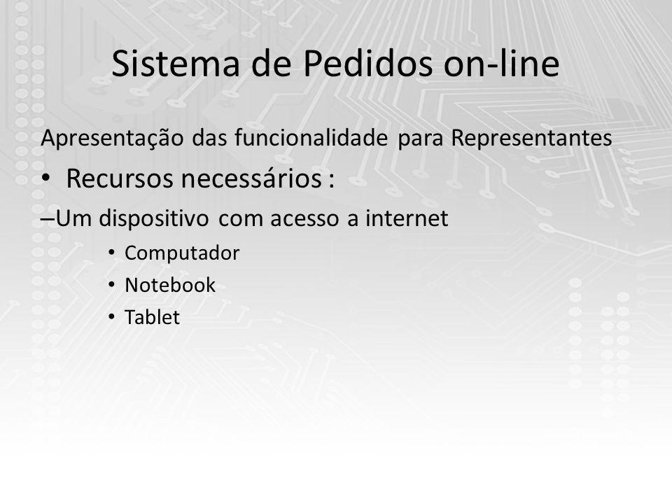 Sistema de Pedidos on-line Apresentação das funcionalidade para Representantes Recursos necessários : – Um dispositivo com acesso a internet Computador Notebook Tablet