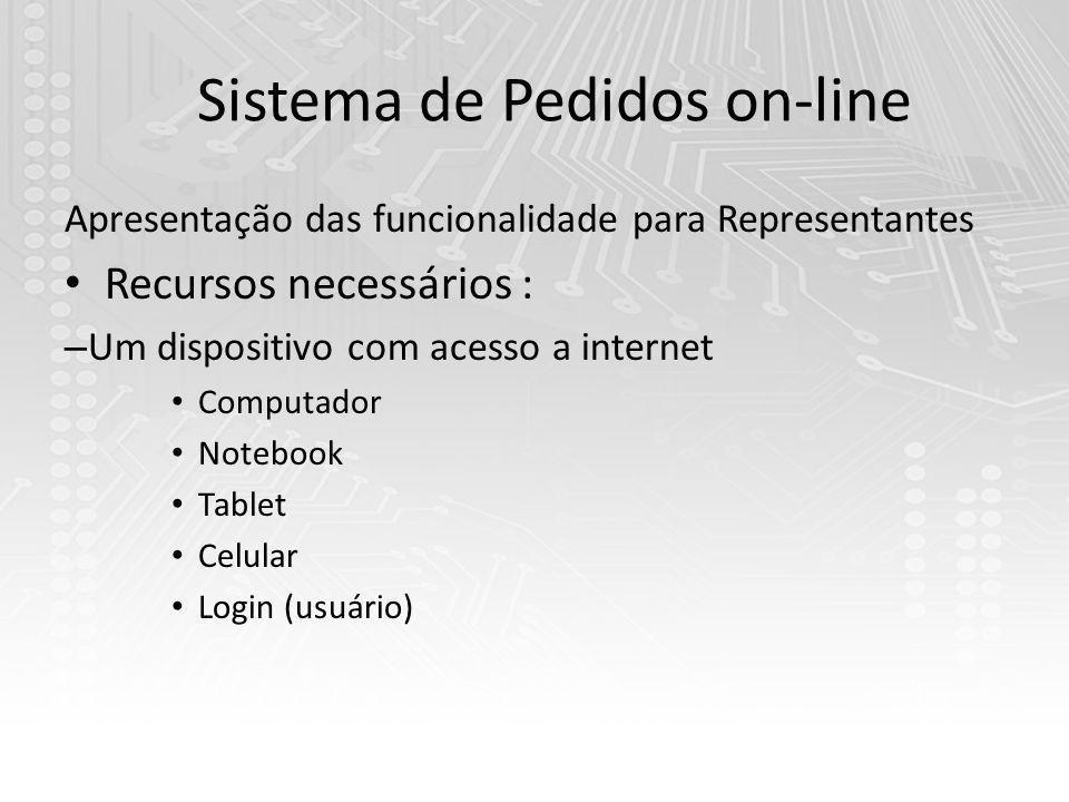 Sistema de Pedidos on-line Apresentação das funcionalidade para Representantes Recursos necessários : – Um dispositivo com acesso a internet Computador Notebook Tablet Celular Login (usuário)