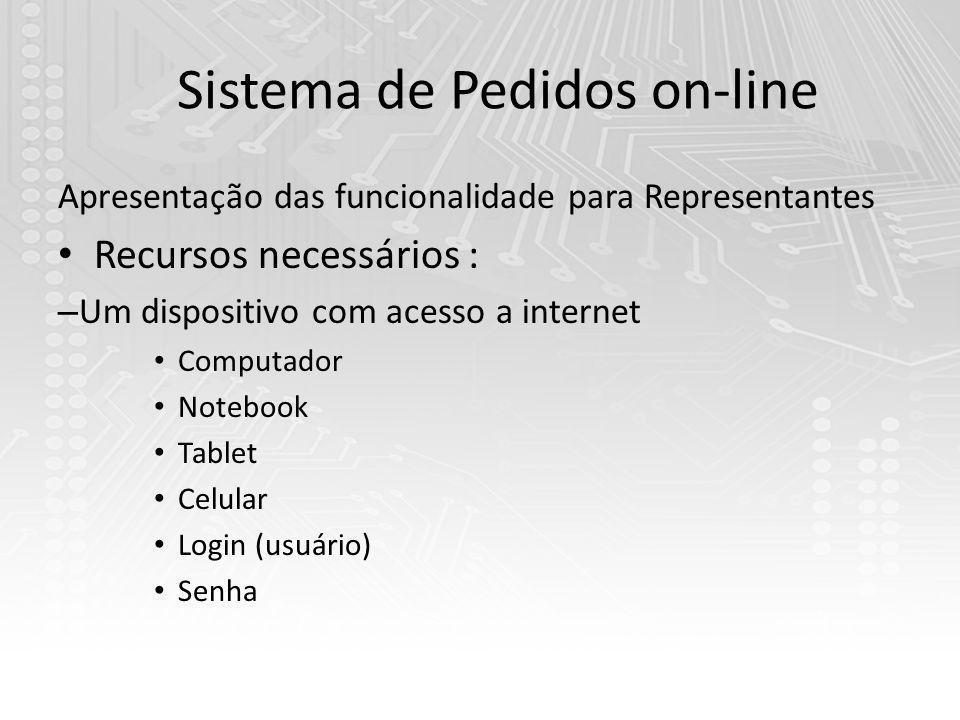 Sistema de Pedidos on-line Apresentação das funcionalidade para Representantes Recursos necessários : – Um dispositivo com acesso a internet Computador Notebook Tablet Celular Login (usuário) Senha