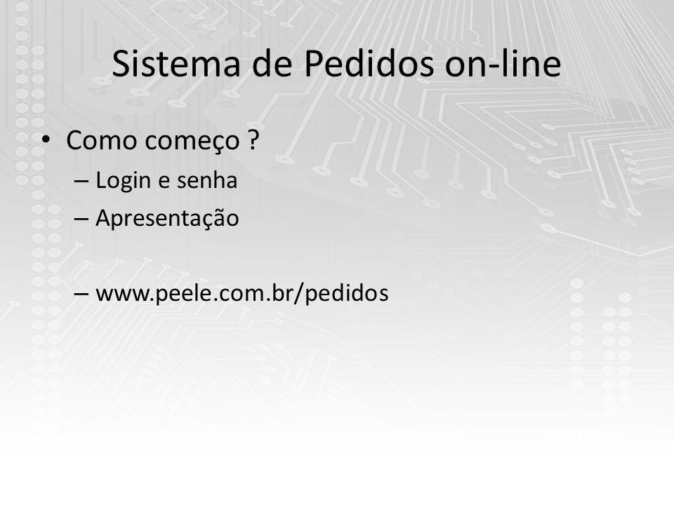 Sistema de Pedidos on-line Como começo ? – Login e senha – Apresentação – www.peele.com.br/pedidos