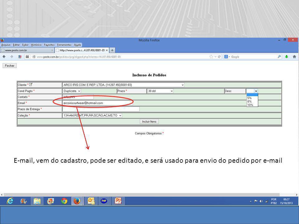 E-mail, vem do cadastro, pode ser editado, e será usado para envio do pedido por e-mail