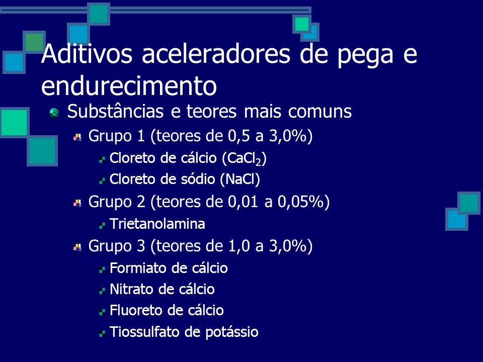 Aditivos aceleradores de pega e endurecimento Substâncias e teores mais comuns Grupo 1 (teores de 0,5 a 3,0%) Cloreto de cálcio (CaCl 2 ) Cloreto de sódio (NaCl) Grupo 2 (teores de 0,01 a 0,05%) Trietanolamina Grupo 3 (teores de 1,0 a 3,0%) Formiato de cálcio Nitrato de cálcio Fluoreto de cálcio Tiossulfato de potássio