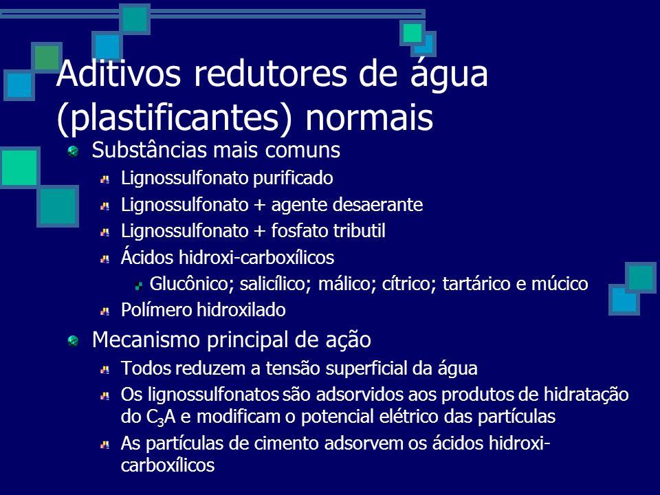 Aditivos redutores de água (plastificantes) normais Substâncias mais comuns Lignossulfonato purificado Lignossulfonato + agente desaerante Lignossulfonato + fosfato tributil Ácidos hidroxi-carboxílicos Glucônico; salicílico; málico; cítrico; tartárico e múcico Polímero hidroxilado Mecanismo principal de ação Todos reduzem a tensão superficial da água Os lignossulfonatos são adsorvidos aos produtos de hidratação do C 3 A e modificam o potencial elétrico das partículas As partículas de cimento adsorvem os ácidos hidroxi- carboxílicos