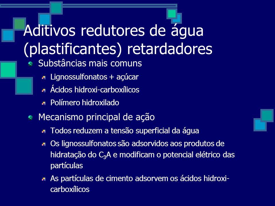 Aditivos redutores de água (plastificantes) retardadores Substâncias mais comuns Lignossulfonatos + açúcar Ácidos hidroxi-carboxílicos Polímero hidroxilado Mecanismo principal de ação Todos reduzem a tensão superficial da água Os lignossulfonatos são adsorvidos aos produtos de hidratação do C 3 A e modificam o potencial elétrico das partículas As partículas de cimento adsorvem os ácidos hidroxi- carboxílicos