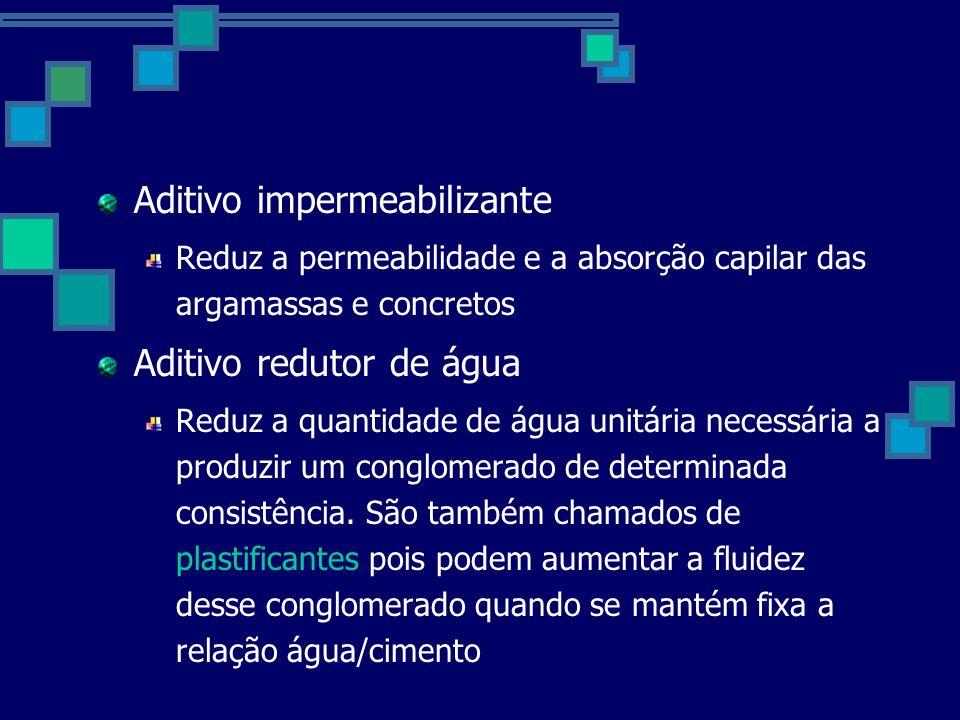 Aditivo impermeabilizante Reduz a permeabilidade e a absorção capilar das argamassas e concretos Aditivo redutor de água Reduz a quantidade de água unitária necessária a produzir um conglomerado de determinada consistência.