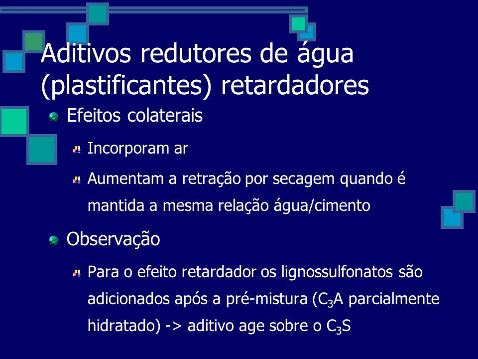 Aditivos redutores de água (plastificantes) retardadores Efeitos colaterais Incorporam ar Aumentam a retração por secagem quando é mantida a mesma relação água/cimento Observação Para o efeito retardador os lignossulfonatos são adicionados após a pré-mistura (C 3 A parcialmente hidratado) -> aditivo age sobre o C 3 S