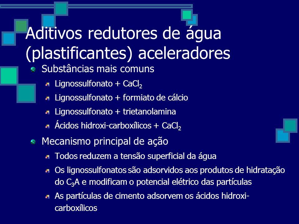 Aditivos redutores de água (plastificantes) aceleradores Substâncias mais comuns Lignossulfonato + CaCl 2 Lignossulfonato + formiato de cálcio Lignossulfonato + trietanolamina Ácidos hidroxi-carboxílicos + CaCl 2 Mecanismo principal de ação Todos reduzem a tensão superficial da água Os lignossulfonatos são adsorvidos aos produtos de hidratação do C 3 A e modificam o potencial elétrico das partículas As partículas de cimento adsorvem os ácidos hidroxi- carboxílicos