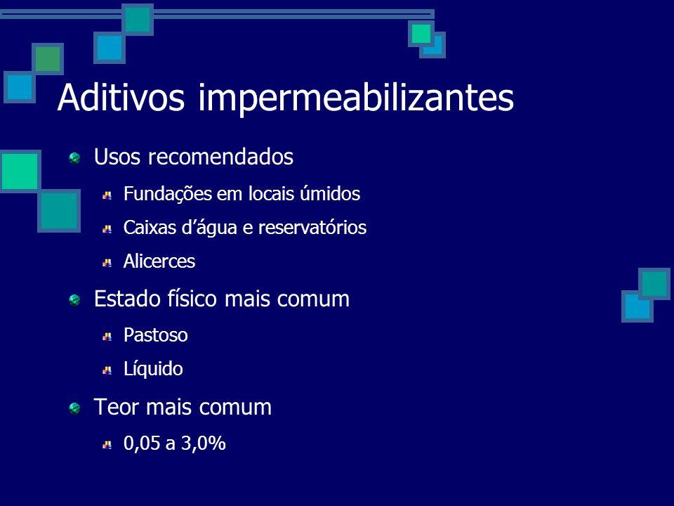 Aditivos impermeabilizantes Usos recomendados Fundações em locais úmidos Caixas dágua e reservatórios Alicerces Estado físico mais comum Pastoso Líquido Teor mais comum 0,05 a 3,0%