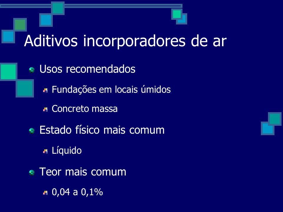 Aditivos incorporadores de ar Usos recomendados Fundações em locais úmidos Concreto massa Estado físico mais comum Líquido Teor mais comum 0,04 a 0,1%