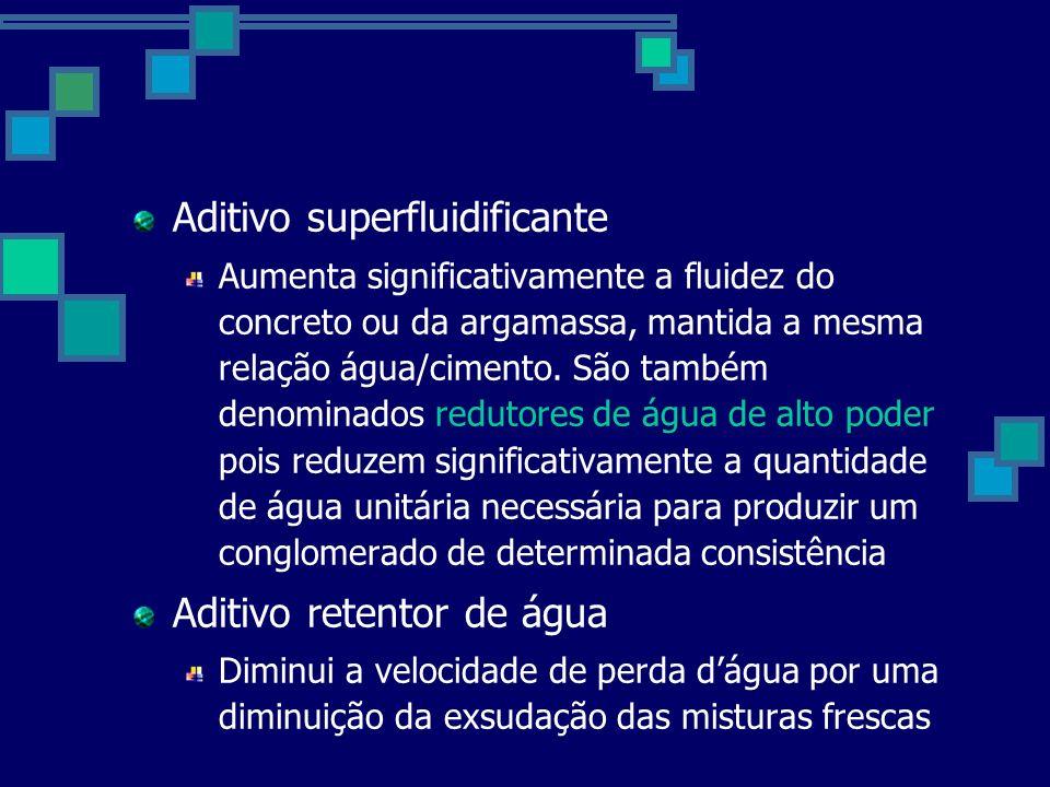 Aditivo superfluidificante Aumenta significativamente a fluidez do concreto ou da argamassa, mantida a mesma relação água/cimento.