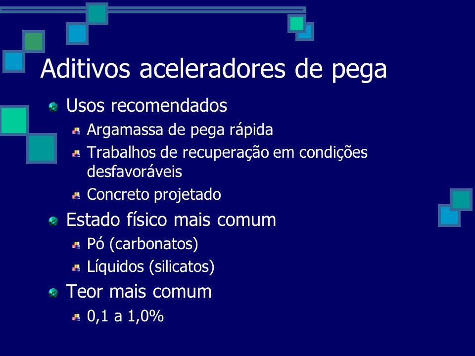 Aditivos aceleradores de pega Usos recomendados Argamassa de pega rápida Trabalhos de recuperação em condições desfavoráveis Concreto projetado Estado físico mais comum Pó (carbonatos) Líquidos (silicatos) Teor mais comum 0,1 a 1,0%