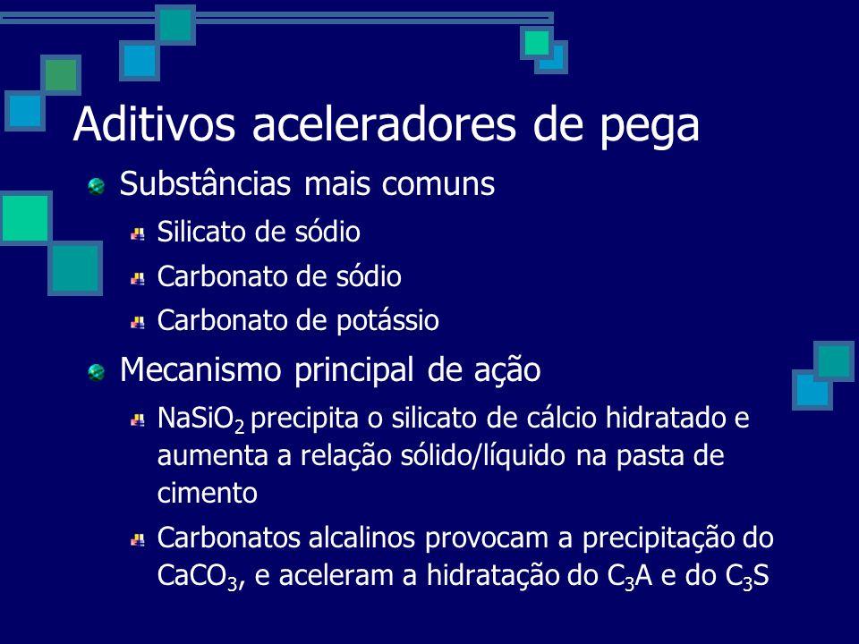 Aditivos aceleradores de pega Substâncias mais comuns Silicato de sódio Carbonato de sódio Carbonato de potássio Mecanismo principal de ação NaSiO 2 precipita o silicato de cálcio hidratado e aumenta a relação sólido/líquido na pasta de cimento Carbonatos alcalinos provocam a precipitação do CaCO 3, e aceleram a hidratação do C 3 A e do C 3 S