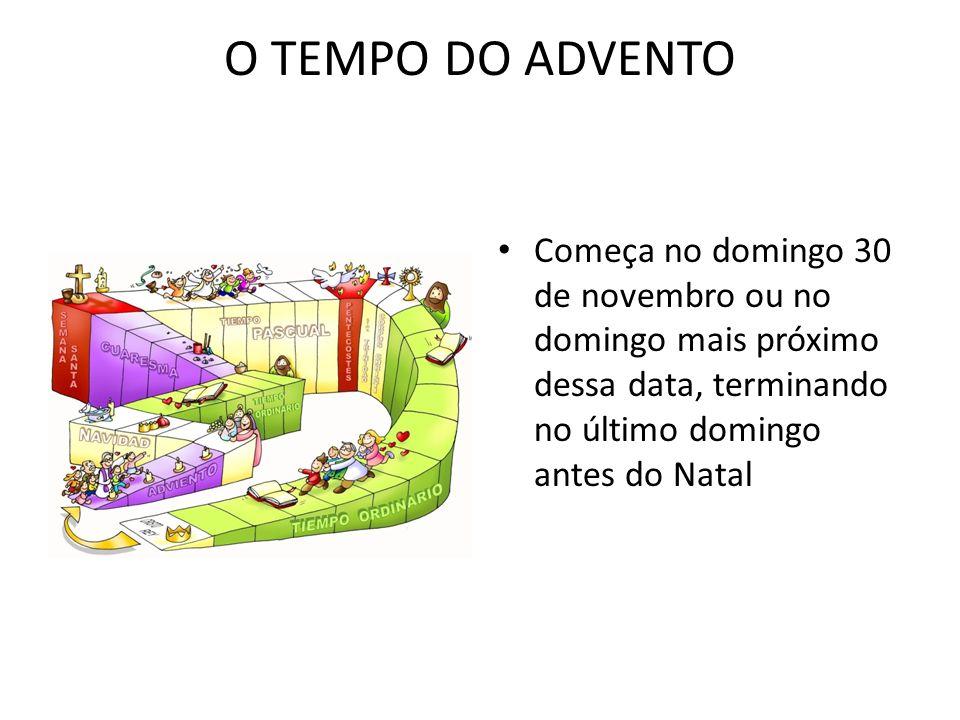 O TEMPO DO ADVENTO Começa no domingo 30 de novembro ou no domingo mais próximo dessa data, terminando no último domingo antes do Natal