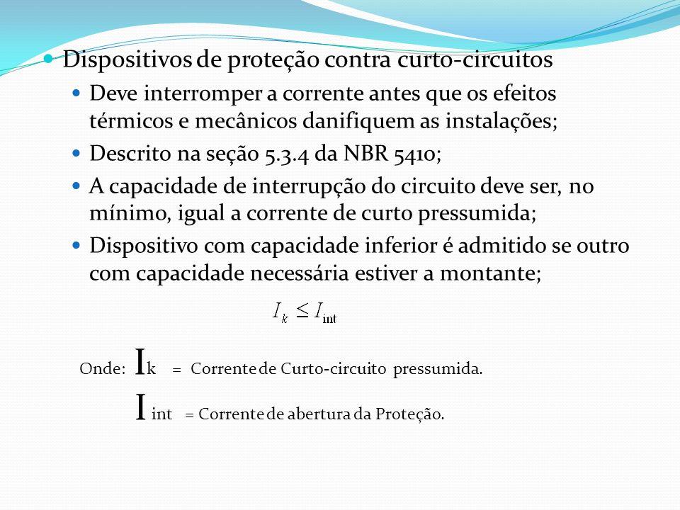 Dispositivos de proteção contra curto-circuitos Deve interromper a corrente antes que os efeitos térmicos e mecânicos danifiquem as instalações; Descr