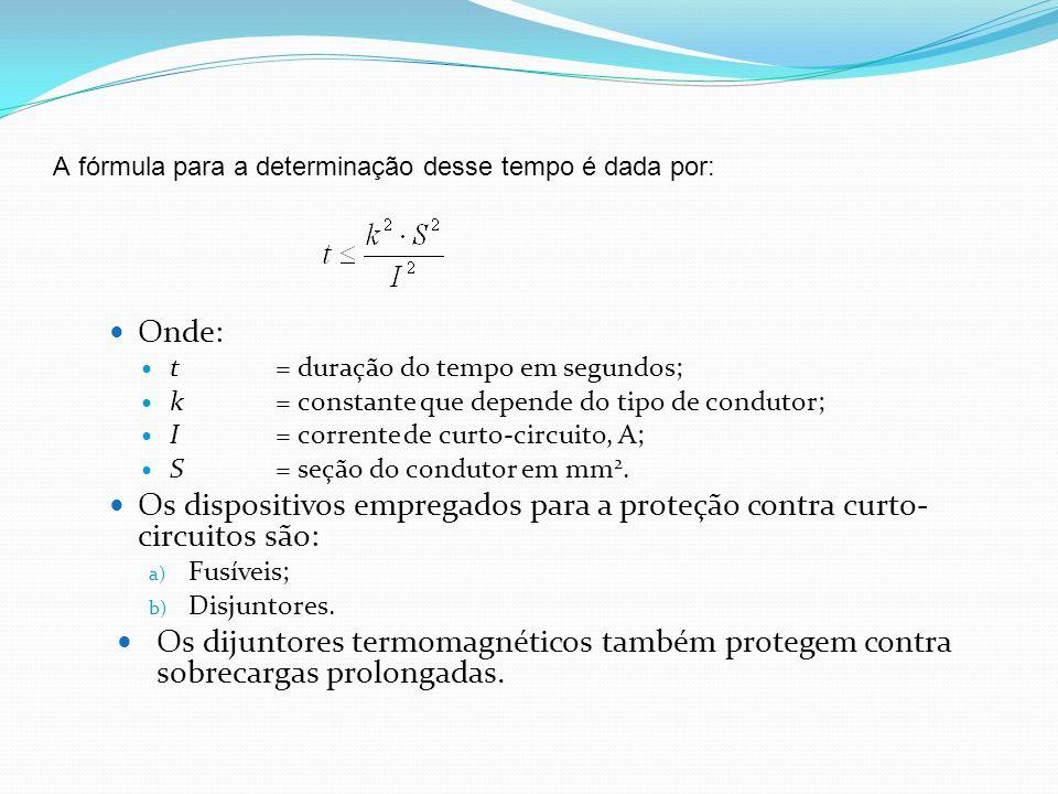 A fórmula para a determinação desse tempo é dada por: Onde: t= duração do tempo em segundos; k= constante que depende do tipo de condutor; I= corrente