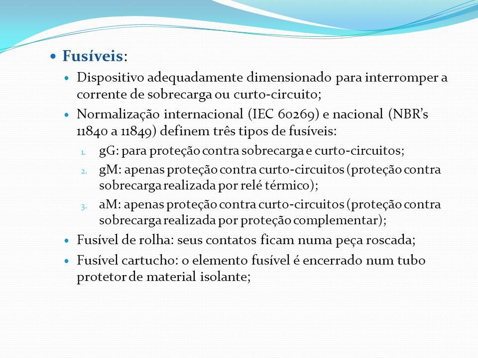 Fusíveis: Dispositivo adequadamente dimensionado para interromper a corrente de sobrecarga ou curto-circuito; Normalização internacional (IEC 60269) e