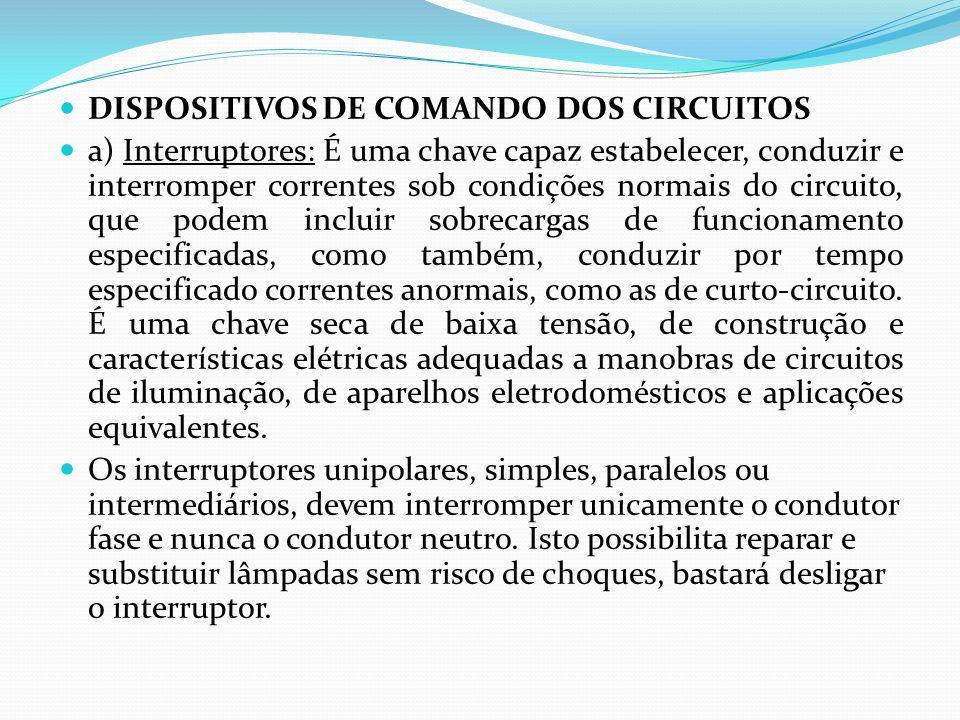 DISPOSITIVOS DE COMANDO DOS CIRCUITOS a) Interruptores: É uma chave capaz estabelecer, conduzir e interromper correntes sob condições normais do circu