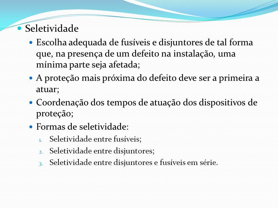 Seletividade Escolha adequada de fusíveis e disjuntores de tal forma que, na presença de um defeito na instalação, uma mínima parte seja afetada; A pr