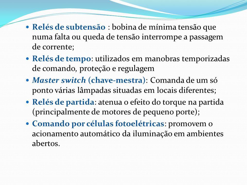 Relés de subtensão : bobina de mínima tensão que numa falta ou queda de tensão interrompe a passagem de corrente; Relés de tempo: utilizados em manobr