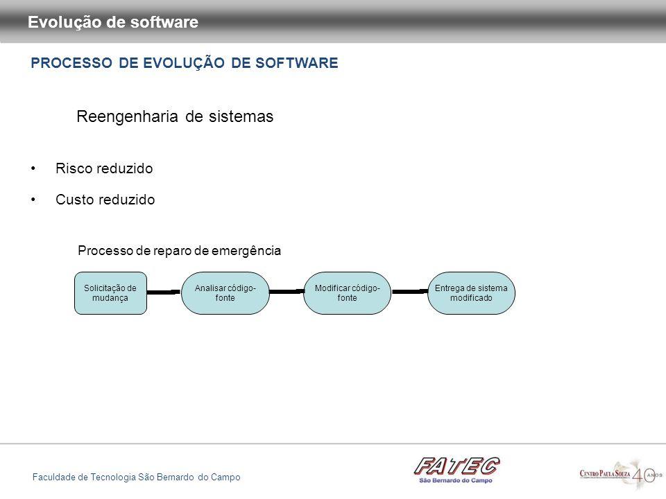 PROCESSO DE EVOLUÇÃO DE SOFTWARE Evolução de software Faculdade de Tecnologia São Bernardo do Campo Reengenharia de sistemas Risco reduzido Custo redu