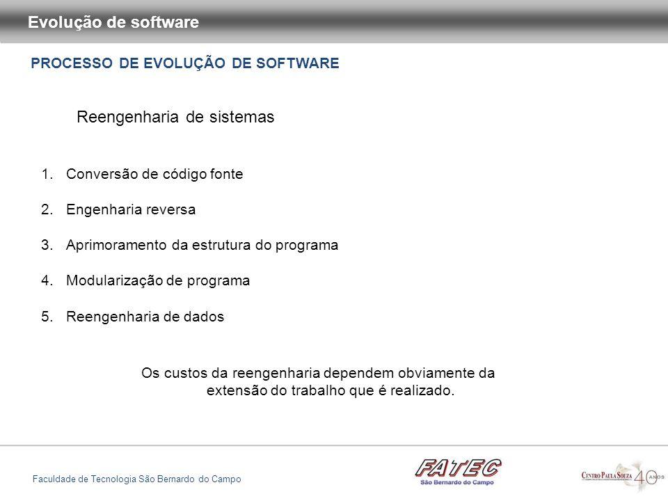 PROCESSO DE EVOLUÇÃO DE SOFTWARE Evolução de software Faculdade de Tecnologia São Bernardo do Campo Reengenharia de sistemas 1.Conversão de código fon